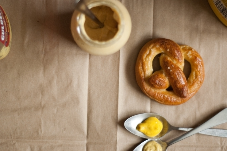 Homemade Soft Pretzel and Yellow and Brown Mustard