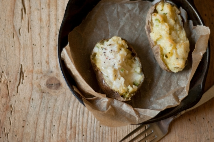 Twice-Baked Cheese and Chive Potatoes Recipe | sophisticatedgourmet.com