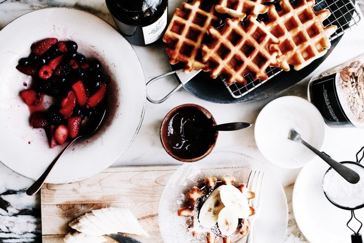 A Belgian waffle recipe for crisp, golden, and lighter-than-air belgian waffles. The best part? This easy waffle recipe only takes 5 mintues to prepare! | sophisticatedgourmet.com