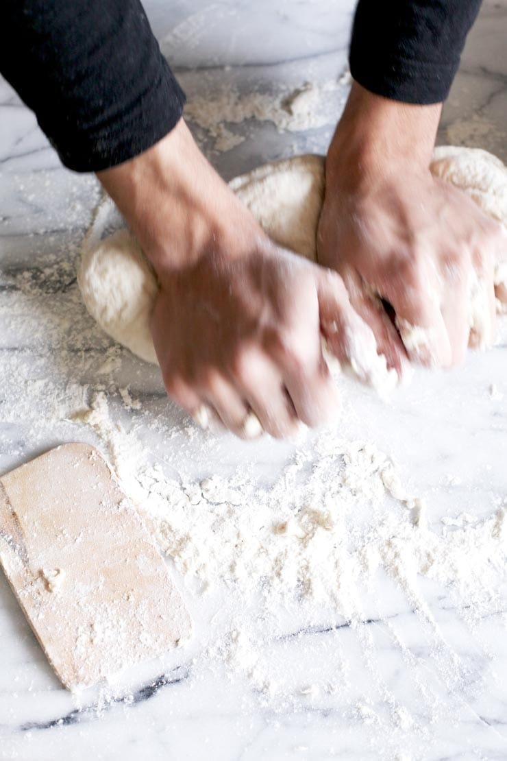 Kneading Dough for New York-Style Bagel Recipe