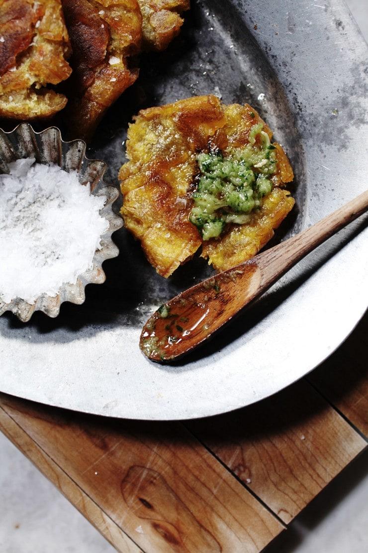Authentic Dominican Tostones recipe with cilantro garlic ajillo