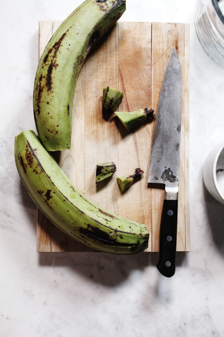 Cut ends of green plantains