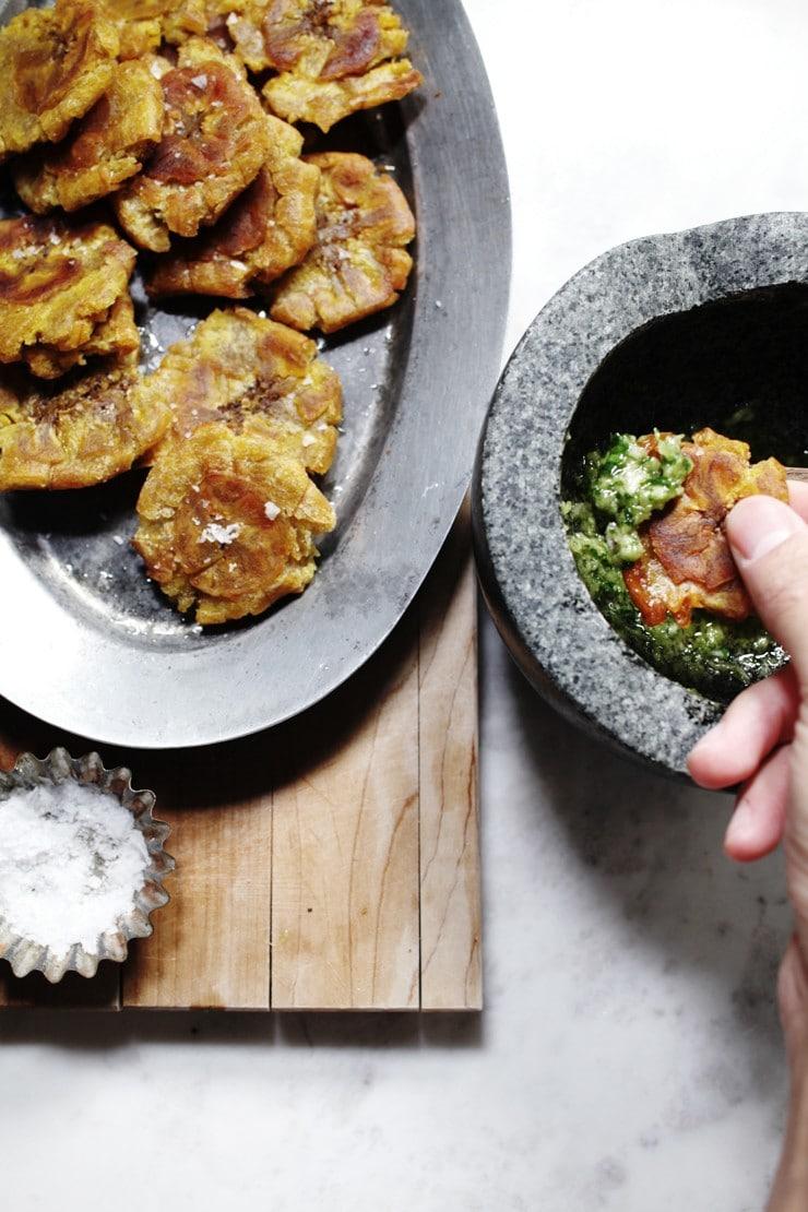 Dominican tostones and cilantro ajillo recipe