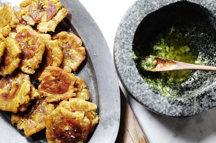 Dominican tostones with cilantro ajillo
