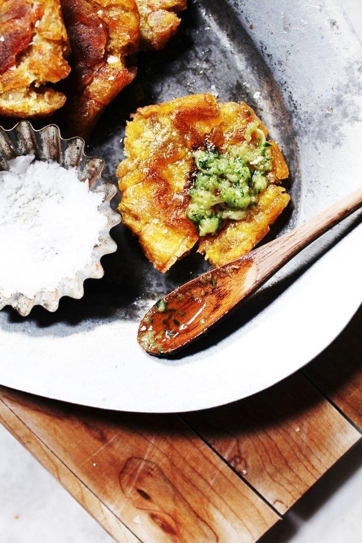 Authentic Dominican Tostones and Cilantro-Garlic Ajillo