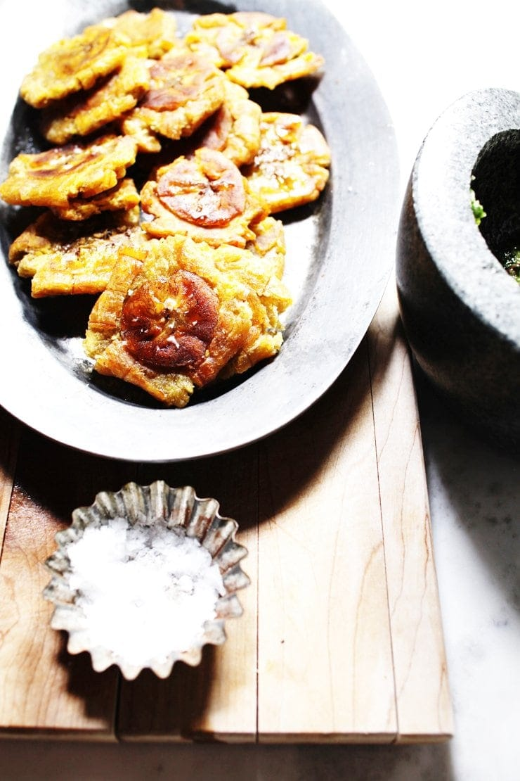 Freshly Fried Tostones (Twice-Fried Green Plantains) With Maldon Sea Salt